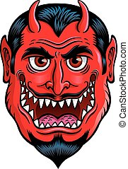 Devil Monster Face - Cartoon illustration of a monster type...