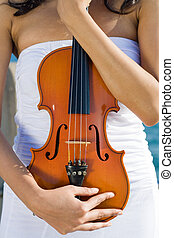 violin - woman holding a violin in white dress