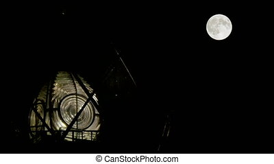 Full Moon Behind the Lighthouse - Full moon surface...