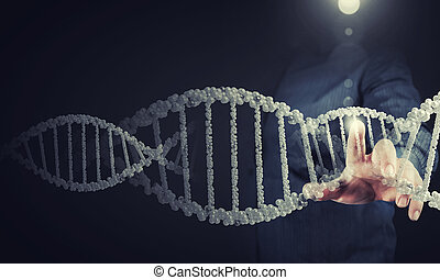 Biochemistry research - Science concept image of human hand...
