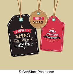 Christmas Sale, Gift Tags and labels with lettering,...