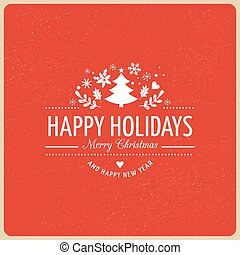 Red Christmas Background With Typography, Lettering