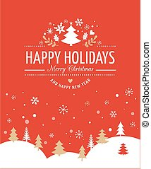 Red Christmas Background With Typography, Lettering - Merry...