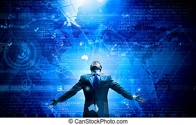In light of success - Businessman with hands spread apart...