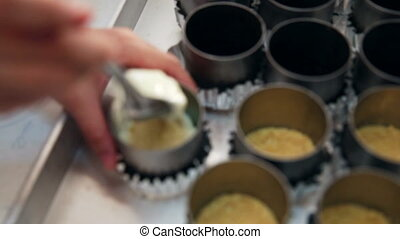 cheesecake cream fill on tart tin - A cream cheese mixture...