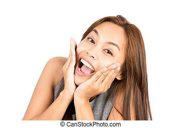 Blissful Asian Woman Portrait Reacting Good News - Portrait...