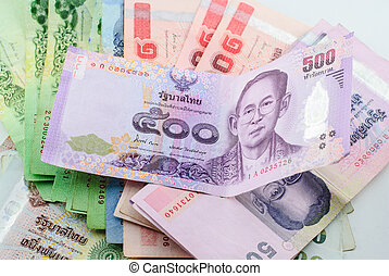 Thailand currency of Baht banknotes background image