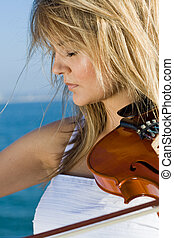 passionate violin player - a passionate violin player on...