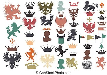 Collection of vector heraldic shapes lions, eagles, unicorns, griffins, crowns, fleur de lis perfect for heraldic projects