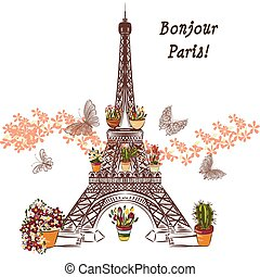 Cute illustration with flower Eiffel tower and potters fully...