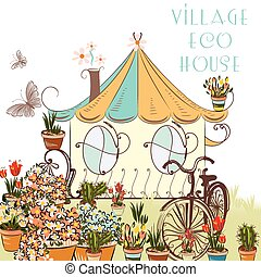 Cute vector illustation with little village house and garden...