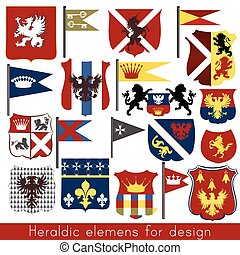 Set of vector heraldic elements shields, fleur de lis, flags, crowns and other
