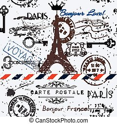 Vector seamless background with flower Eiffel tower and post stamps immitation of vintage postcard in grunge style.eps