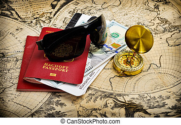 world travel - World travel concept. Passport and journey...