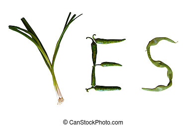 Yes vegetables - The word yes written with green vegetables