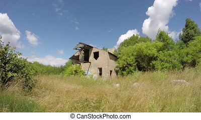 Old house ruin in the field - Desolate building in the wild...