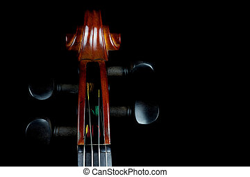 Violin Scroll on Black Background - traditional violin...