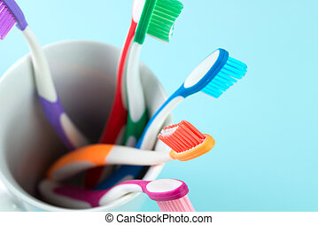 Multicolor toothbrushes - Close up of multicolor...
