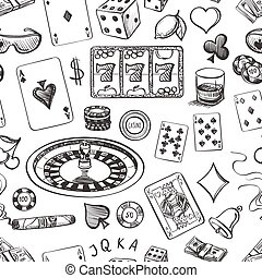 Seamless casino hand drawn pattern with roulette, cards,...
