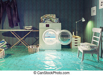 housework dreams. - housework  dreams. 3d Creative concept.