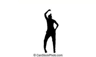 Young beautiful social latino dancer dancing on white, slow...