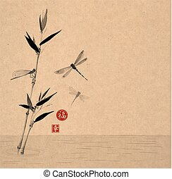 Bamboo branch and three dragonflies flying over the water....