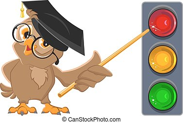 Owl Teacher shows pointer on lights Traffic light education...