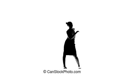 Young, great woman dancing social latino dancers on white, slow motion, silhouette