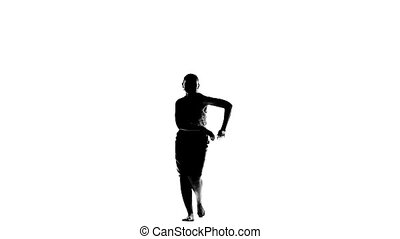 Slim woman dancing social latino dancers on white, slow motion, silhouette