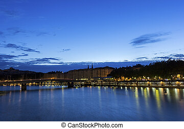 Lyon by Saone River in France