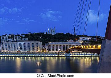 Lyon by Saone River in France - View on Lyon in the morning