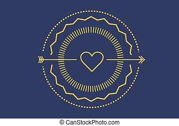 Hipster heart logo vector icon. Royal love