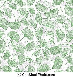 floral,  ginkgo,  seamless, fond, feuilles