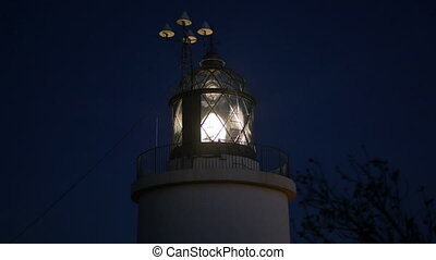 Maritime Lighthouse Flashing Night - Mediterranean maritime...