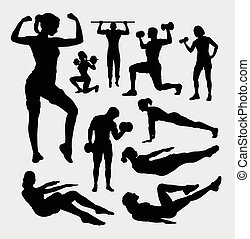 Fitness sport male and female silho - People, male and...