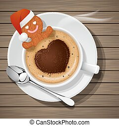gingerbread with santa claus hat in cup of hot coffee