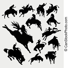 Rodeo cowboy riding animal silhouet - Rodeo cowboy activity...