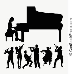 Musical istrument player silhouette - Musical instrument...