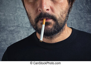 Casual man with cigarette