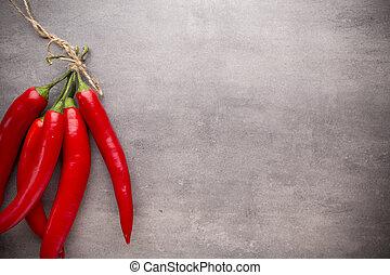 Chilli pepper. - Chilli pepper on the grey background.
