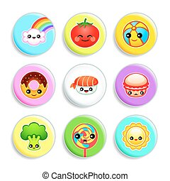 Kawaii badges - Set III - Set of badges with the cute...