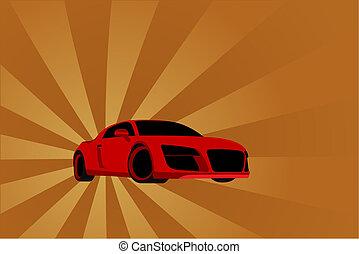Car on sunburst