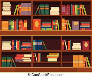 Vector bookcase flat illustration
