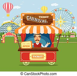 Amusement park. Vector flat illustration