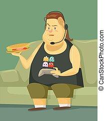Vector gamer flat illustration