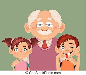 Grandfather and grandchildren Vector flat illustration