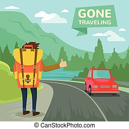 Hitchhiking tourism concept Vector flat illustration
