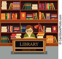 Vector library flat illustration