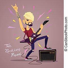 Rock star. Vector flat illustration