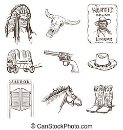 Wild west icon, western wanted cowboy poster with Injun,...